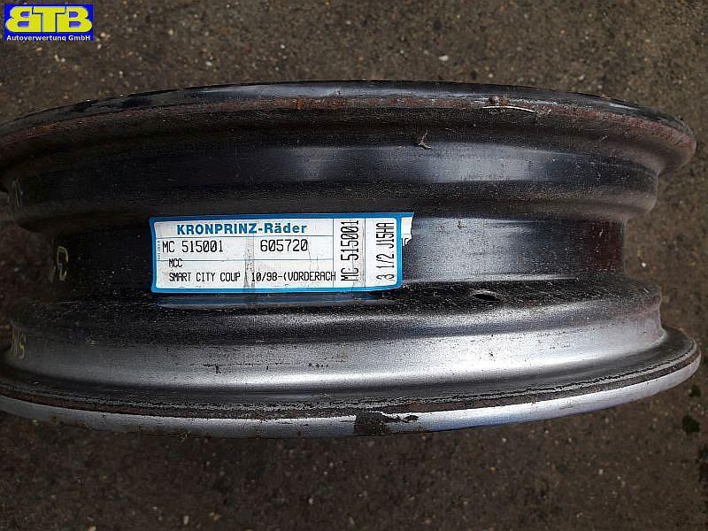 Felge Stahl / Stahlfelgen 3,5JX15H ET 20,5 LK 3X112X57 silberMCC SMART (MC01) 0.6