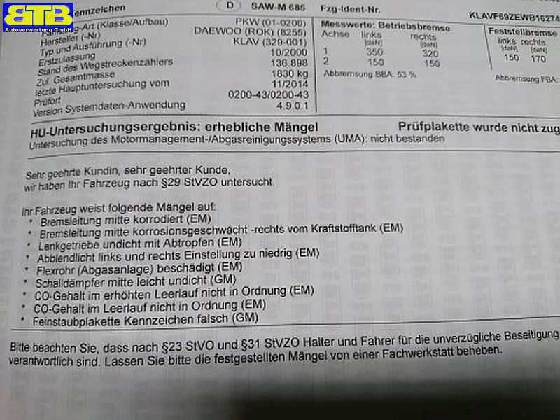 DAEWOO LEGANZA (KLAV) 2.0 16V