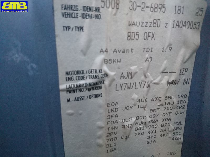 AUDI A4 AVANT (8D5, B5) 1.9 TDI