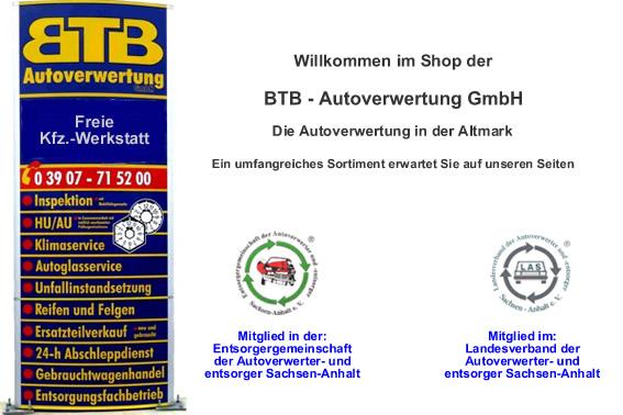 Willkommen in unserem Shop der BTB-Autoverwertung
